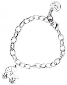 BR47 braccialetto acciaio catena regolabile carrozzina dimensioni charm 2x2 cm