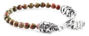 BREM30 braccialetto in pietre naturali unakite con terminalino cuore