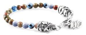 BREM32 braccialetto in pietre naturali mix color con terminalino cuore
