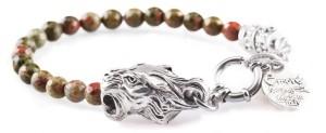 BREM33 braccialetto in pietre naturali unakite con terminalino cuore terminalino tigre