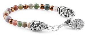 BREM34 braccialetto in pietre naturali mix color agata brasiliana con terminalino cuore