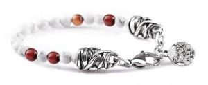 BREM36 braccialetto in pietre naturali mix color aulite con terminalino cuore