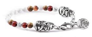 BREM37 braccialetto in pietre naturali mix color aulite con terminalino cuore