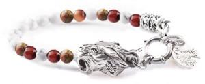 BREM38 braccialetto in pietre naturali mix color aulite con terminalino tigre