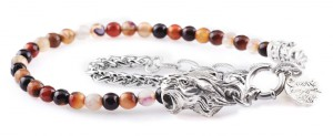 BREM3 braccialetto in pietre naturali agata marrone con terminalino tigre