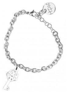 BR26 bracciale in acciaio con catena regolabile chiavetta dimensioni charm 2x2cm
