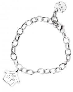 BR48 braccialetto acciaio catena regolabile casetta dimensioni charm 2x2 cm