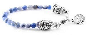 BREM4 braccialetto in pietre naturali mix color agata blu con terminalino cuore