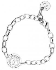 BR71 braccialetto acciaio catena regolabile gufetto  misura charm 2x2cm