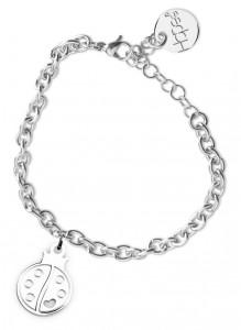 BR27 bracciale in acciaio con catena regolabile coccinella dimensioni charm 2x2cm