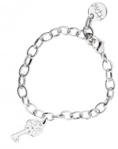 BR49 braccialetto acciaio catena regolabile chiavetta dimensioni charm 2x2 cm