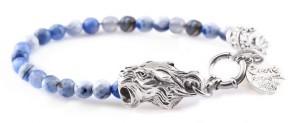 BREM5 braccialetto in pietre naturali mix agata blu con terminalino tigre