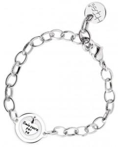 BR72 braccialetto acciaio catena regolabile il mio cuore per te  misura charm 2x2cm