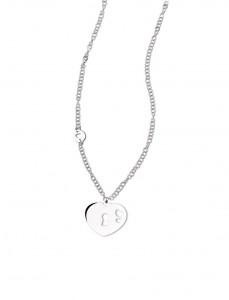 CH 06 Collana in acciaio cuore con serratura lunghezza 80 cm dimensioni charm 3x2,5 cm