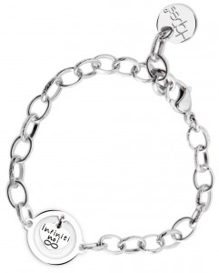 BR73 braccialetto acciaio catena regolabile infiniti noi  misura charm 2x2cm