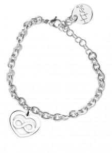 BR29 bracciale in acciaio con catena regolabile cuore infinito dimensioni charm 2x2cm