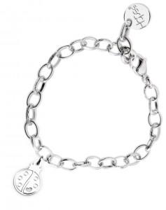 BR51 braccialetto acciaio catena regolabile coccinella dimensioni charm 2x2 cm