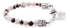 BREM7 braccialetto in pietre naturali mix agata grigia ossidiana e ematite con terminalino corona