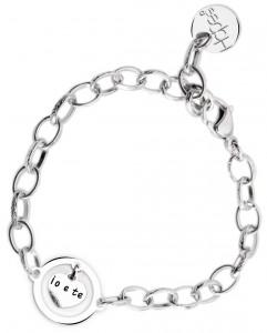 BR74 braccialetto acciaio catena regolabile io e te  misura charm 2x2cm