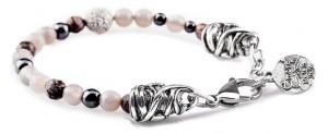 BREM8 braccialetto in pietre naturali mix agata grigia ossidiana e ematite con terminalino cuore