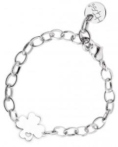 BR75 braccialetto acciaio catena regolabile quadrifoglio  misura charm 2x2cm