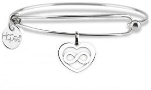 BR9 bracciale rigido in acciaio cuore infinito dimensione charm 2x2