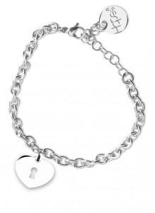 BR31 bracciale in acciaio con catena regolabile ccuoricino dimensioni charm 2x2cm