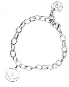 BR53 braccialetto acciaio catena regolabile cuore tondo dimensioni charm 2x2 cm