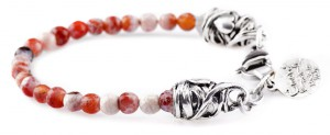 BREM9 braccialetto in pietre naturali agata arancione con terminalino cuore